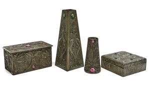 Arts and Crafts vases and boxes