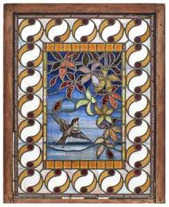 Stained and painted glass window