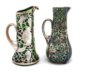 American art nouveau handled pitchers, two