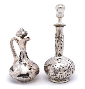American art nouveau bottle and pitcher