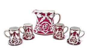 American art nouveau pitcher and cups