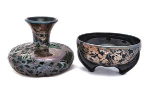 American art nouveau vase and bowl